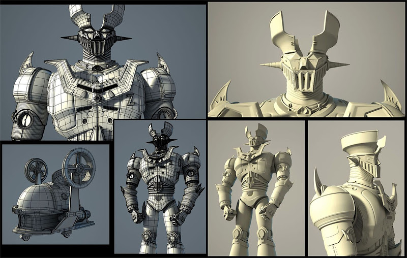 "Photo: ""Mazinga-Z""  wireframe/shade  Author: Gaston Nicolas Alanis"