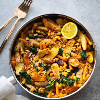 Lentil Pasta with Roasted Fingerlings, Baby Kale and Crispy Garlic Recipe