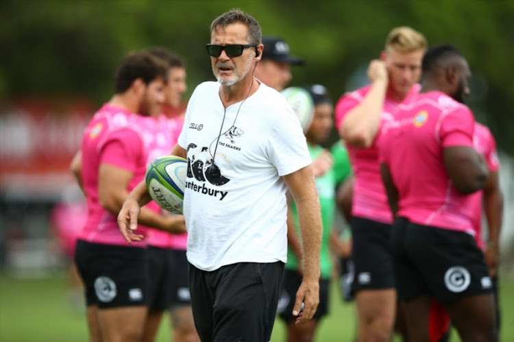 Robert du Preez (Head Coach) of the Cell C Sharks during the Cell C Sharks training session at Jonsson Kings Park on April 30, 2018 in Durban, South Africa.