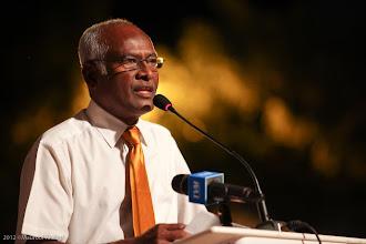 Photo: Male' City Mayor, Ali Manik, Speaking at MDP Rally Artificial Beach. Photo: Maapu