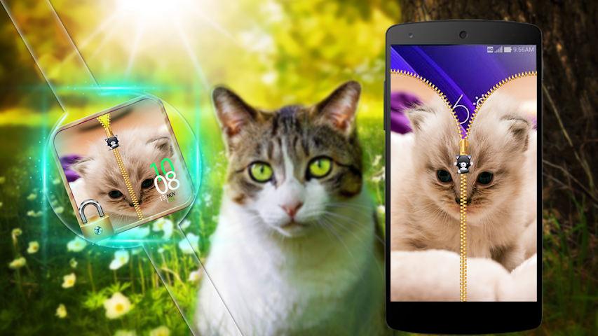 android Lovely Cat Zipper Lock Screenshot 1