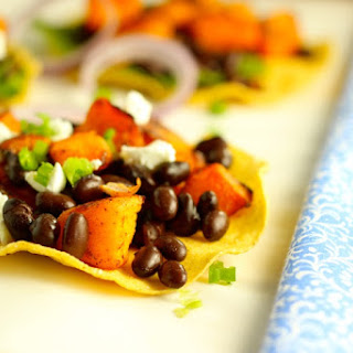 Black Bean Tostadas with Chile Roasted Butternut Squash
