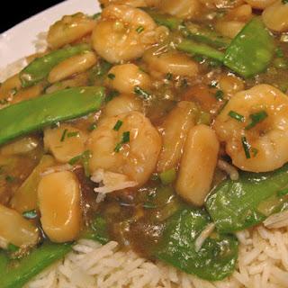 Stir-fried Shrimp with Snow Peas.
