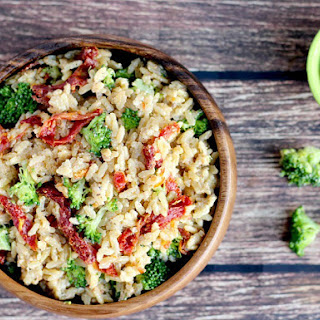 Creamy Rice with Sun-dried Tomatoes and Broccoli.
