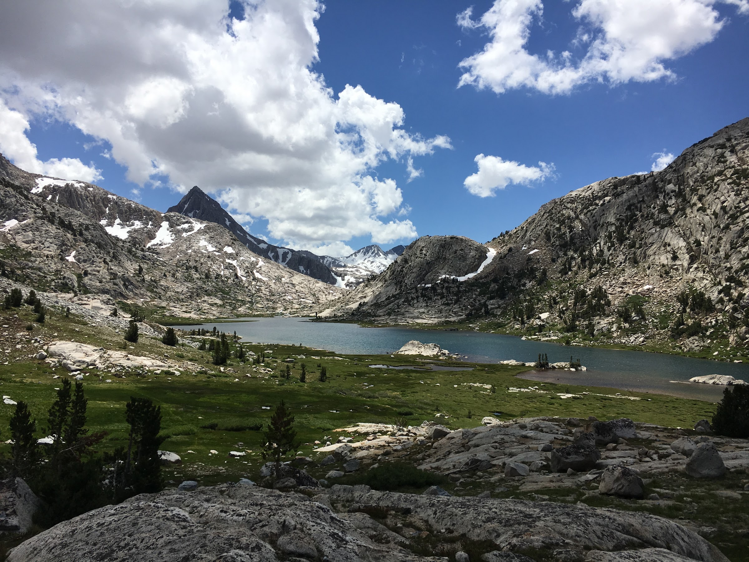 Stunning Evolution Lake and the view south to the Goddard Divide