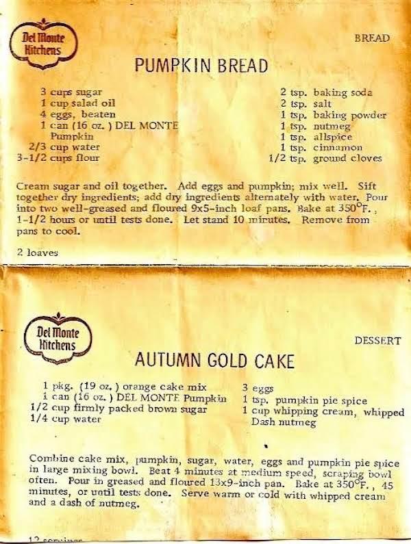 Del Monte Pumpkin Bread Recipe