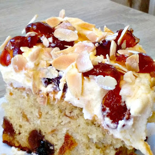 Cherry Almond Cake with Cream Cheese Frosting.