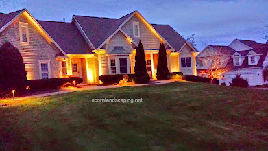 Photo: Landscape Lighting, Rochester NY, LED lighting Designer, Installer Monroe County Rochester NY. Acorn Ponds & Waterfalls, Certified Aquascape Contractor since 2004.  Check out our website www.acornponds.com and give us a call 585.442.6373.  We were able to install this #OutdoorLighting system last fall, just in time for a Thanksgiving party. The guests were able to find the entrance of the house and return to their car easily. The #LEDLighting fixtures come with a 15 year guarantee and the bulbs will last for years. Homeowners often tell me they enjoy their gardens better at night than during the day after installing landscape lighting for them.  For more info about Landscape Lighting, please click here: www.acornponds.com/led-lighting.html  Acorn Ponds & Waterfalls of Rochester NY, 585-442-6373, is a Certified Aquascape Contractor, Landscape Designer, Outdoor Lighting Designer, Installer, Builder, Contractor and Design Service Company from Rochester, NY. We have professional Installation and Design Services available for the following: Landscape Design Outdoor Room Design Backyard Ponds and Waterfalls Design & Construction Patios and Walkways: Paver, Stone, Brick Low Voltage Landscape Lighting LED Landscape Lighting Swimming Ponds Ecosystem Ponds LED Outdoor Lighting Retaining Walls Fountains Water Features Pondless Waterfalls Pond Maintenance and Design Aquatic and Under Water LED Lights Bubbling Boulders and Urns Natural Stone Patios and Rock Gardens Garden Ponds Outdoor Kitchens Pizza Ovens Fire Pits Fish or Koi Ponds Waterfall Ponds Low Maintenance Plantings Commercial Landscape Design Residencial Landscape Design Drainage Issues, Solutions Aquascape Rainwater Collection Systems.  Servicing: Pittsford NY, Penfield NY, Brighton NY, Fairport NY, Webster NY, Greece NY, Victor NY, Henrietta NY, Irondequoit NY, Rush NY.  Click here for a free Magazine all about Ponds and Water Features: http://flip.it/gsrNN  Check out our photo albums on Pinterest here: www.pi