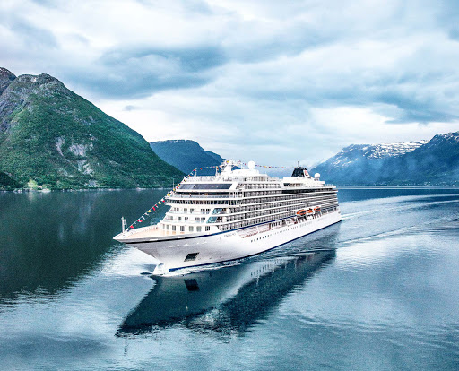 Viking Sky in Eidfjord, which sits on a magnificent fjord east of Bergen, Norway.