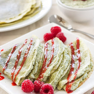 Green Tea Crepes with Matcha Ricotta Filling & Raspberry Sauce.