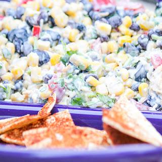 Potluck Corn Black Bean and Cilantro Salsa Dip for a Crowd.