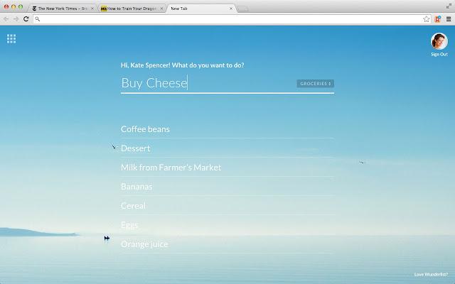 Wunderlist New Tab - Chrome Web Store