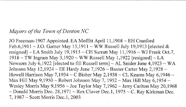 Photo: Mayors for the Town of Denton NC ~ 1907 - 2007