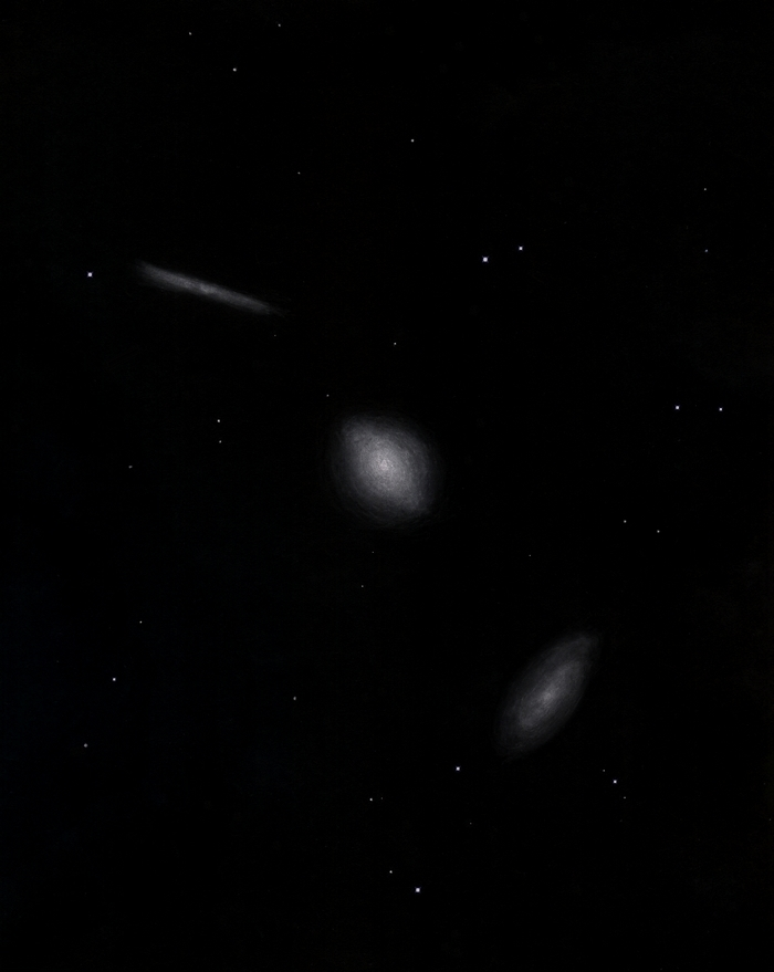 "Photo: Le ""trio du Dragon"" (NGC 5981, 5982, 5985), vu au Restefond en aout 2015. Alignement de trois galaxies de types différents. T406 à 220X."