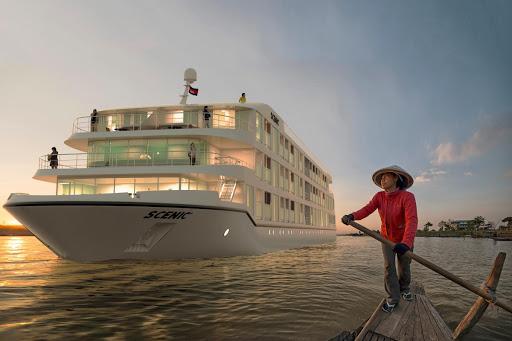 scenic-spirit-on-Mekong - The new luxury river ship Scenic Spirit sails the Mekong River.
