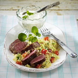 Lamb Loin with Quinoa and Mint-Yogurt Sauce