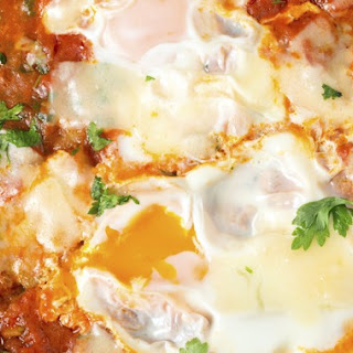 Double Yolk Egg Bake in Tomato Sauce & Manchego