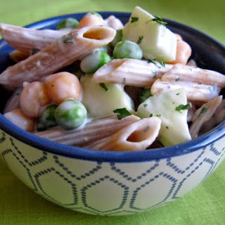 Creamy Pasta Salad with Garbanzo Beans.