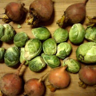 Roasted Brussels Sprouts and Golden Beets.