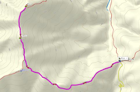 Mt. Shibutsu The map of the climb