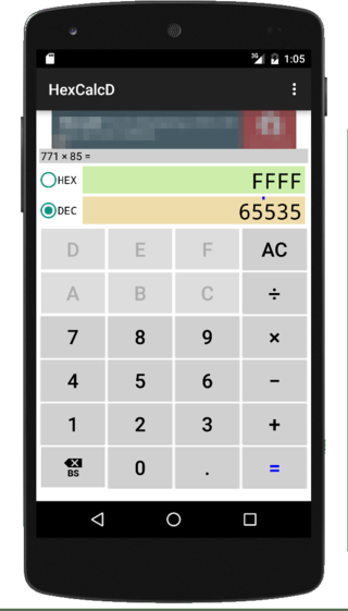 HexCalc D : hex dec calculator- screenshot