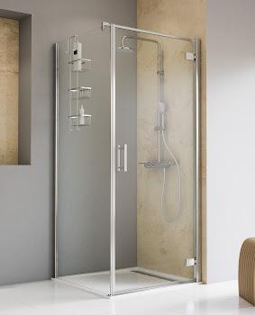 Porte de douche pivotante avec paroi latérale, 80x80, 90x90 ou 100x100 cm
