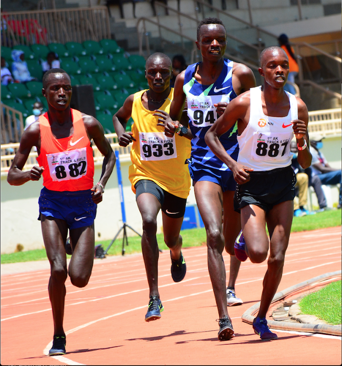 Rodgers Kwemoi leads Simiu Ebenyo and Michael Kibet and Gideon Rono in 5000m race during the 1st Athletics Kenya Track and Field Series at Nyayo Stadium.