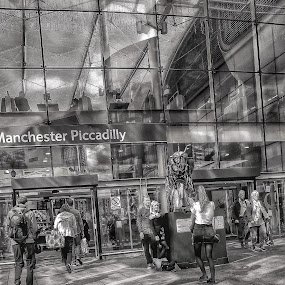 Commuters by Brian Egerton - Buildings & Architecture Office Buildings & Hotels ( reflection, hdr, cityscape, black and white, people, street photography, building, architecture )