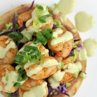 Shrimp Chalupas with Roast Poblano Sauce