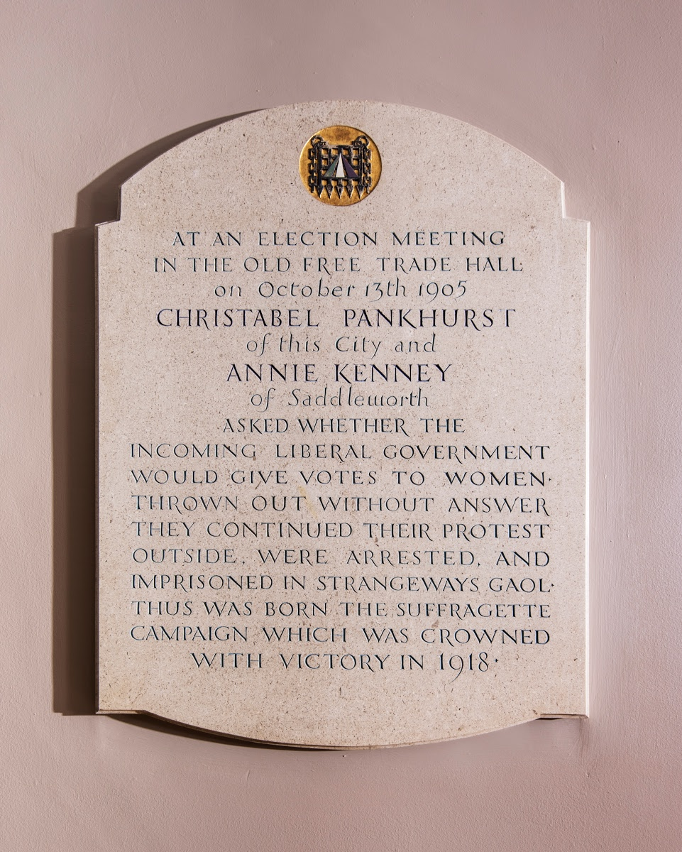 Plaque to Christabel Pankhurst and Annie Kenney, Free Trade Hall