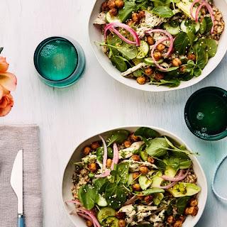 Grain Bowls with Chicken, Spiced Chickpeas, and Avocado recipe | Epicurious.com.