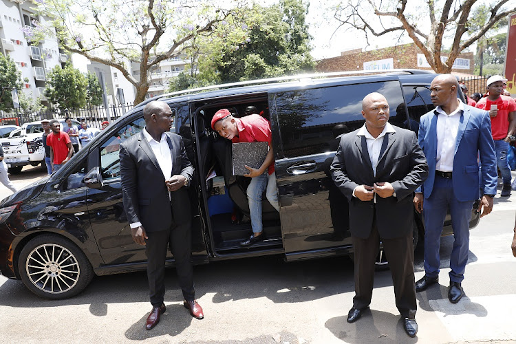 EFF leader Julius Malema arrives at the same police station in Brooklyn, Pretoria, on November 27 2018, that public enterprises minister Pravin Gordhan used to open charges against him on Monday, to open his own criminal case against Gordhan.
