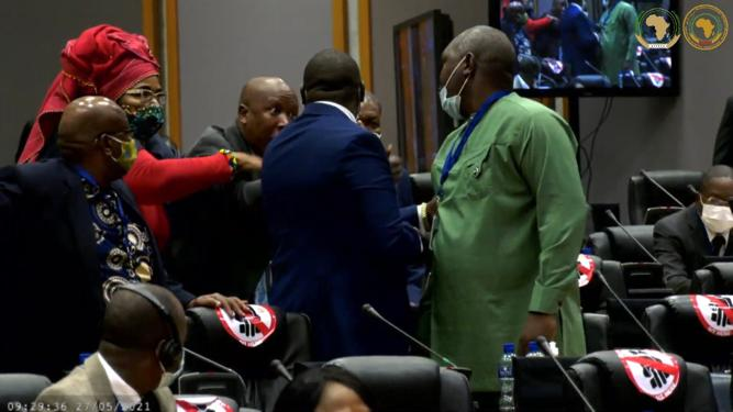 EFF leader Julius Malema was involved in a heated exchange in the Pan-African Parliament on Thursday, during which he said to a fellow MP that he would kill him outside.
