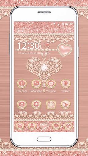 Rose Gold Launcher Diamond Heart Theme 1.1.1 screenshots 2