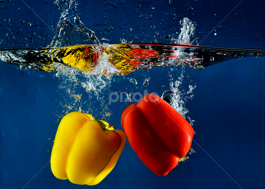 bump me.. by Pete G. Flores - Food & Drink Fruits & Vegetables ( clear, autofocus, red, pepper splash, sparkling, foods, fruits, bubbles deep dip shadow studio, vegetables, yellow, otep, water drop,  )