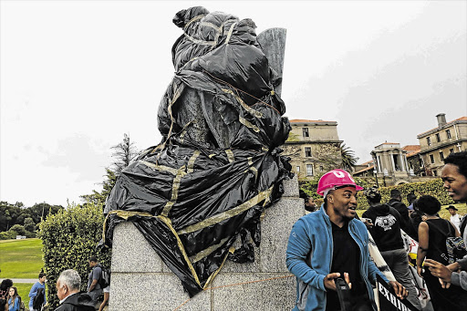 IT'S A WRAP: Cecil John Rhodes' statue at UCT, which is at the centre of controversy