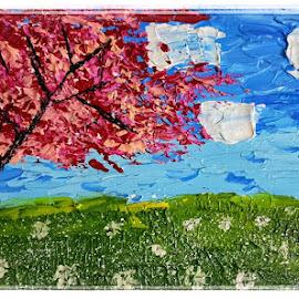 Cherry Tree by Pooja Chopra - Painting All Painting ( #cherrytree #acrylic #painting #acrylicpainting #tree )