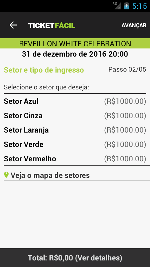 Ticket Fácil: captura de tela