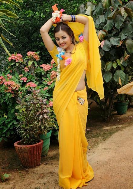 Sana Oberoi yellow saree pics