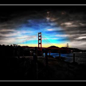 MORNING GOLD (GOLDEN GATE BRIDGE, SAN FRANCISCO CALIFORNIA) by Brandon Rose - City,  Street & Park  City Parks ( water, clouds, golden gate bridge, color, black and white, sanfrancisco, sf, landscape, bridges, landmark, travel )