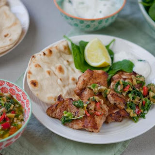 Turkish Spiced Chicken With Flatbreads And Green Relish.