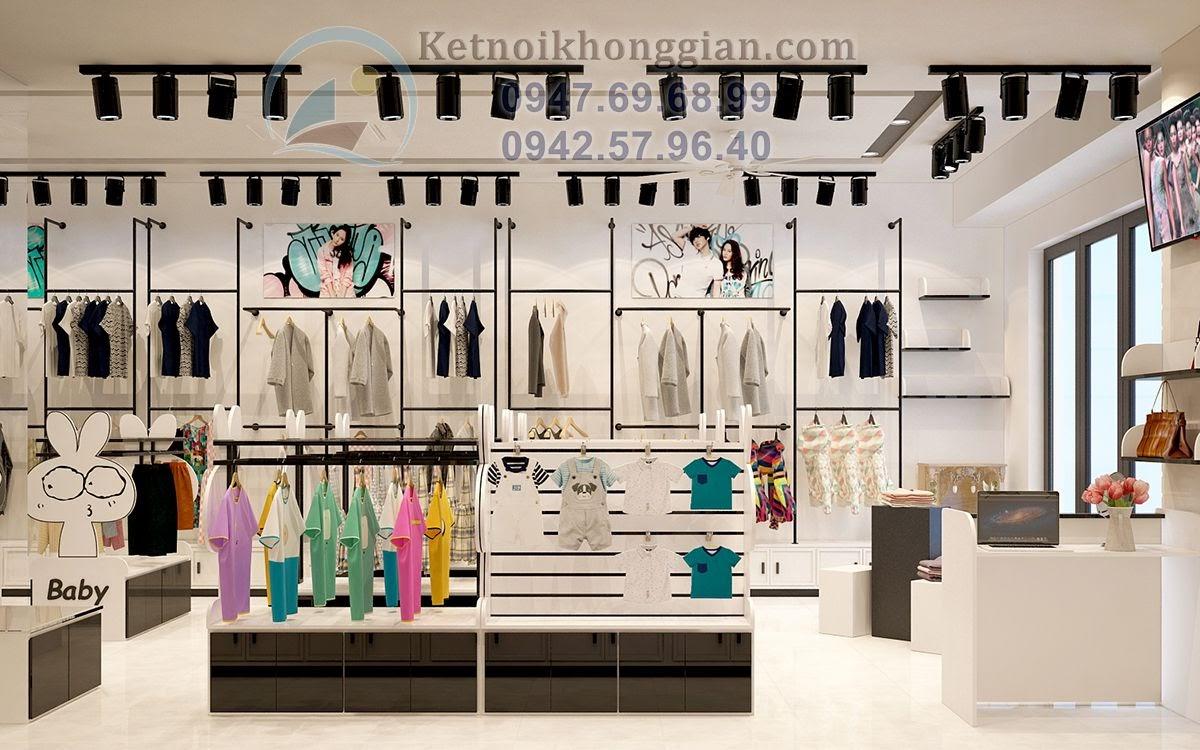 thiết kế shop thời trang trẻ em sang trọng quyền quý