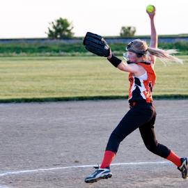 Pitcher by Rick Touhey - Sports & Fitness Baseball ( fast pitch, pitcher, softball, pitching, girls softball )