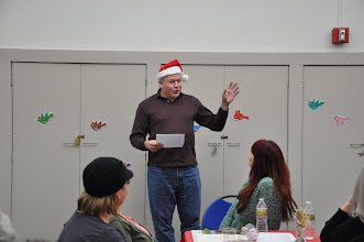 """Photo: Another Michael's turn, reading Shel Silverstein's """"The Smoke-Off"""" (yeah, not all poems were what you would call in the holiday season)."""