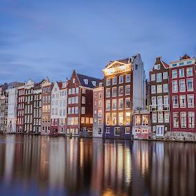 Amsterdam by Nikolas Ananggadipa - City,  Street & Park  Neighborhoods ( reflection, buildings, neighborhood, apartment, long exposure, night, amsterdam )