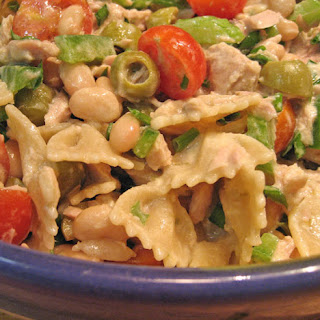 Tuna Cannellini Pasta Salad with Creamy Herb Dressing.