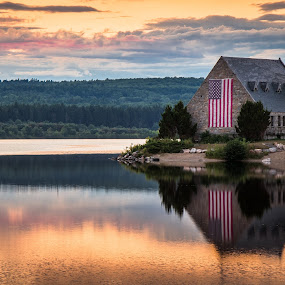 Old Stone Church by Matthew Robertson - Landscapes Sunsets & Sunrises ( clouds, reflection, sky, church, sunset, american flag, stone, lake )