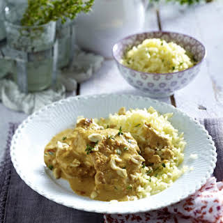 Turkey Cutlets in Peanut Sauce with Rice.