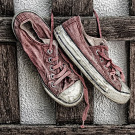My old shoes by Ana Paula Filipe - Artistic Objects Clothing & Accessories ( old, wood, shoes, fence, sport )