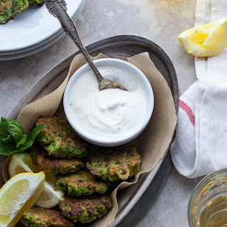 Pea, Mint and Feta Fritters with Yogurt Mint Dipping Sauce (Gluten-Free, Grain-Free).
